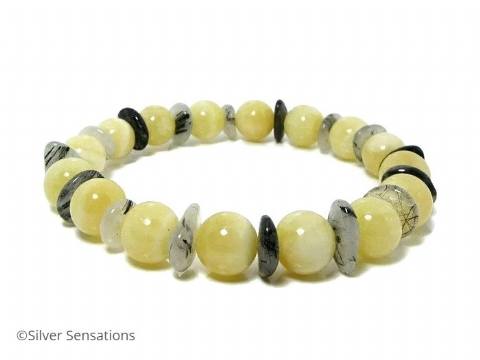 Golden Yellow Honey Quartz & Grey Black Rutilated Quartz Unisex Bracelet